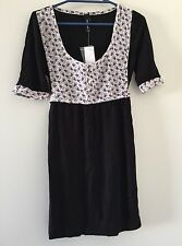 Jeanswest Black Short Sleeve Dress with Floral Bodice - Size XS - RRP $34.95