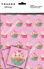 Gift Wrap Pink Cupcakes  Present Wrapping Paper With Matching Tags - Clearance!