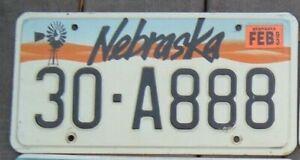 NEBRASKA  Vintage 1993 License Plate - Man Cave - Garage - 30 - A 888 Triple 8 s