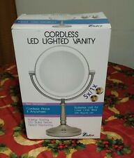 Zadro LEDV45 7In Led Lighted Vanity Mirror 1X/5X Cordless Battery Operated NIB