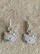 Sterling Silver Ear Wire w/Tibetan Silver Hello Kitty Charm Dangle Drop Earrings