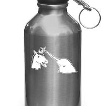 "WB - Narwhal V Unicorn Water Bottle Decal - Design 2 ©YYDC (3.25""w x 2""h)(WHITE)"