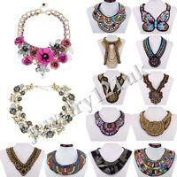 Fashion Women Bib Flower Crystal Pendant Statement Chain Collar Choker Necklace