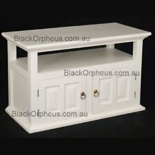 TV Cabinet, Small TV Stand, White, Solid Timber, W97xD47xH60 Entertainment Unit