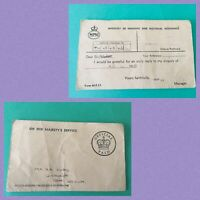 Postcard  GB Ministry of Pensions and National Insurance 1950s Form Ref M.F.21