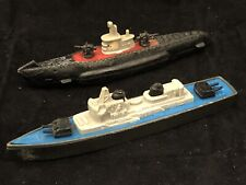 Vintage Tootsie-toy Destroyer and Submarine on Wheels