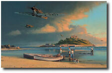 A Time for Heros by Robert Taylor- RAF Hurricane- w/ 3 Pilot Sigs- Aviation Art