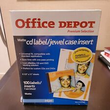Office Depot White Matte Inkjet Cd 100 Labels Jewel Case Inserts Sealed Nos