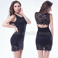 Womens Black Lace Bodycon Backless Party Evening Sexy Little Black Dress M 10-14