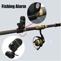 Elektronische LED Licht Fischbiss Sound Alarm Glocke Clip auf Angelrute Schwarz