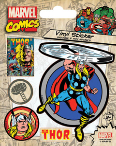 Thor Marvel Comics Retro Originals Vinyl Sticker - 1 sheet, 5 stickers
