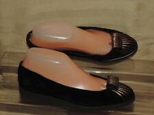 Andre Assous Lightweight Women's 7.5M Black Suede Slip on Loafer Gold toe Accent