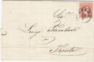 AUSTRIA (Y393) 1869  letter st. 5 kr bluish canc.  BORGO  to  Trento