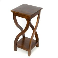 Tall Twisted Teak Table/Lamp Table/Hand Crafted/Rustic/75x25x25/Dark Wood