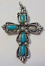 Vintage Turquoise Beads & Silver Tone Crucifix Cross Pendant - Missing Beads