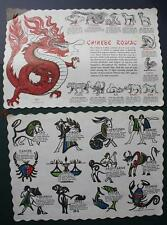 1970s Era Chinese Zodiac signs & Horoscope figures TWO placemat set-VINTAGE SET!