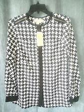 MICHAEL KORS New long sleeve blouse sz 2 button front black white geometric $130