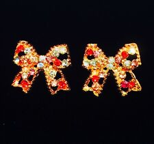 USA EARRING RHINESTONE CRYSTAL GEMSTONE FASHION STUD GOLD SIMPLE PINK BOWKNOT