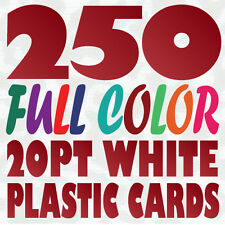 250 Full Color Custom 20pt WHITE PLASTIC BUSINESS CARD Printing w Round Corners