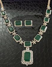 FINE LOOK BIG SIZE GREEN ONYX SQUARE STAR NECKLACE EARRINGS