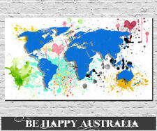 Canvas World Map Framed Decorative Posters & Prints