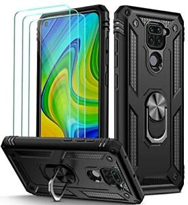 For Xiaomi Redmi Note 9 Case Kickstand Cover & Glass Screen Protector