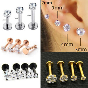 16G CZ Gem Tragus Lip Ring Monroe Ear Cartilage Stud Earring Bars Piercing Gift