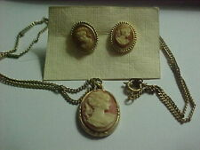 Daughters of the American Revolution Cameo Necklace and earrings