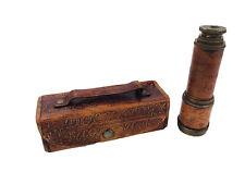 Vintage Dollond London Antique Telescope Pirate Spyglass Brass & Leather w/Case