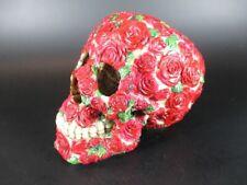 Totenkopf Schädel Rote Rosen Germany 16 cm aus Polyresin,Neu