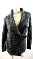 NWT $79 CHARTER CLUB WOMENS BLACK & GRAY BUCKLE FRONT CARDIGAN SWEATER SIZE M