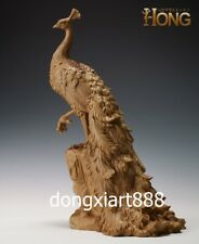48 cm Chinese Handwork Boxwood peafowl peacock Bird Animal Ornament Sculpture