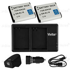 2X EN-EL19 Replacement Battery & USB Dual Charger + AC/DC for Nikon S3700 S7000