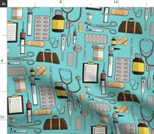New listing Turquoise Doctor Hospital Nurse Pills Health Blue Spoonflower Fabric by the Yard