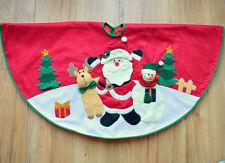 Thick Red Felt - 3D Figures Large Christmas Tree Skirt 100cm