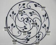 WALL ART DECOR MURAL sconces candle holder black  60x60cm wrought iron NEW