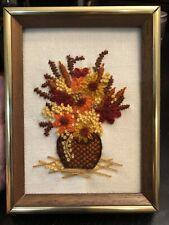 Vintage Embroidered Flowers Framed Wall Art Sunset Designs 1975 Boho