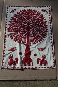 Hand Appliqued Folk Art Tree of Life Wall Hanging by India Women's Collective