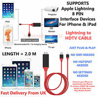 New Lightning 8Pin to HDMI/HDTV Plug & Play Adapter Cable for iPhone iPad & iPod