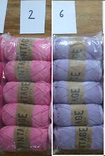 Vintage Cotton  DK Hand Knitting/Crochet Yarn - 500g - Pink or Lilac