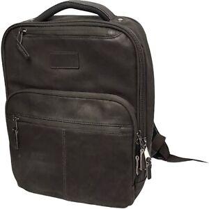 Renwick Genuine All Leather Backpack Dark Brown Lots Pockets RFID