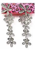 Betsey Johnson Silver  Ombre  Colors Dangled Earrings Crystals Adorable Gift Box