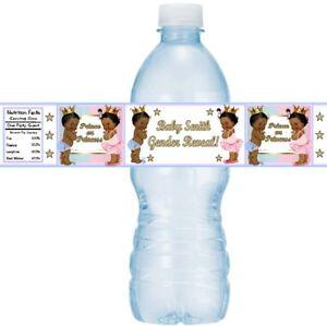 12 Vintage Ethnic Prince Princess Gender Reveal Party Water Bottle Sticker Label