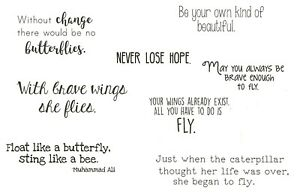 SENTIMENTS Butterfly Set Cling Rubber Stamp Set STAMPING BELLA EB680 New