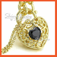18K GOLD GF BLACK CRYSTAL GEM HEART PADLOCK BELCHER RINGS CHAIN BANGLE BRACELET