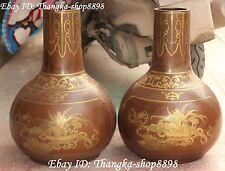 """17"""" Marked Purple Bronze Gilt Bat Chrysanthemum Flower Vase Bottle Vases Pair"""