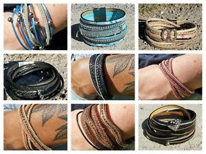 Damen Armband Leder Wickelarmband Freundschaft Lederarmband Geschenk Farben Neu