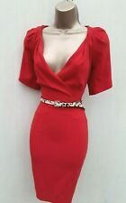 Size 10 UK KAREN MILLEN RED CREPE GALAXY OCCASION PARTY COCKTAIL PENCIL DRESS