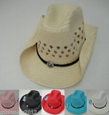 Bulk 12pc Colored Straw MESH Cowboy Cowgirl Western Hat w/ Chin Straps