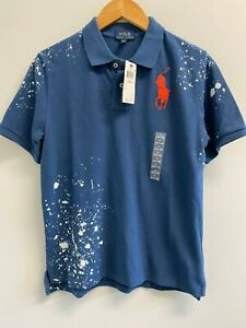 NEW Ralph Lauren Boys L,XL Paint Splatter Polo Shirt Blue/Red Big pony